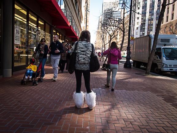 White Shaggy Boots. San Francisco, CA/ ©Stella Kalaw