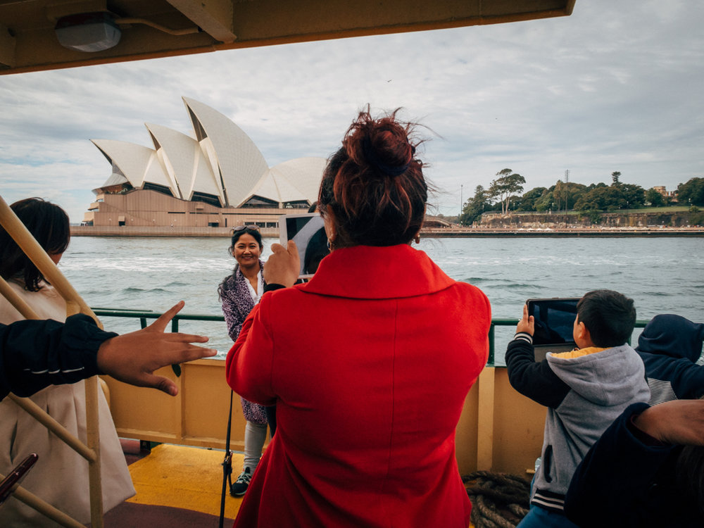 Tourists at the commuter Ferry from Circular Quay. July 2017.