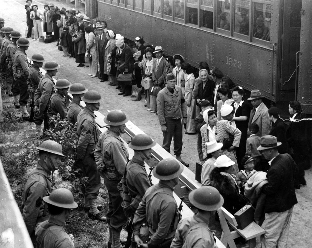 Boarding the train to camp