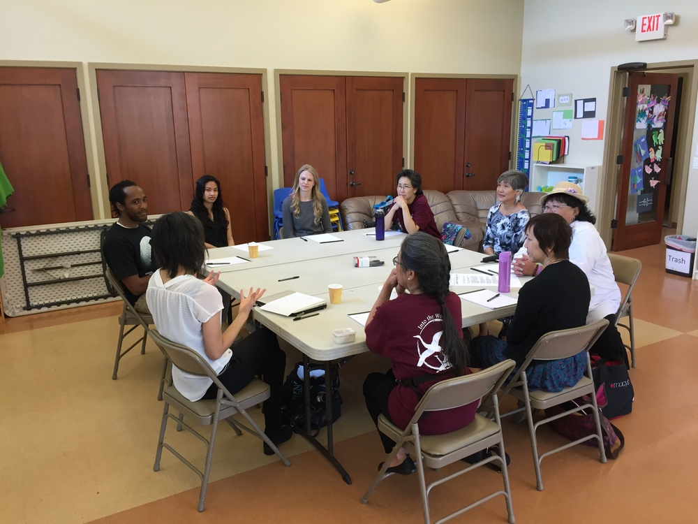 Brynn Saito (CSL director, far left) leads participants in a poetry writing workshop
