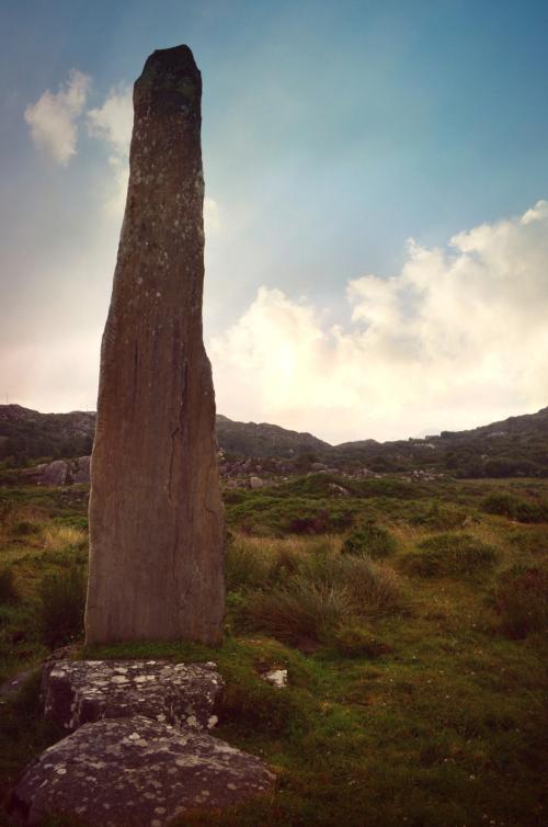 Ballycrovane Ogham Stone, Beara Peninsula: tallest Ogham stone in Europe. (Neolithic, Bronze Age)