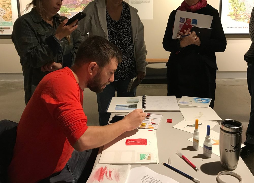 Doing a watercolor demonstration during a workshop at  The Foster .   Haciendo una demostracion de acuarela durante un taller en    The Foster   .