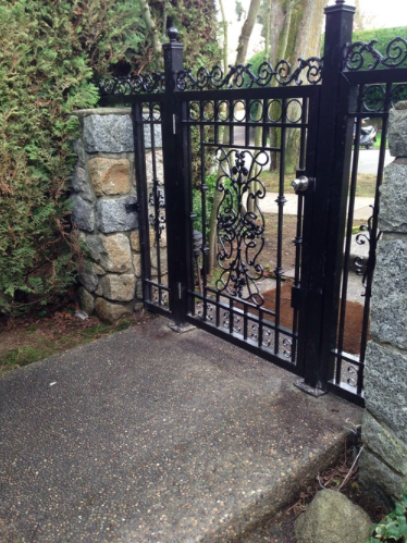 3' wide Pedestrian main gate with ornaments, and two fixed side panels. Vancouver, BC.