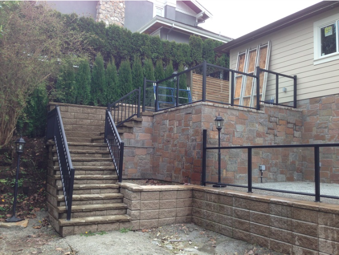 "42"" high temper glass railing with aluminum frame. Vancovuer West, BC."