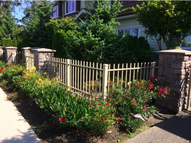 6' high total privacy aluminum fence and sliding gate. Blue Mountain, Coquitlam, BC