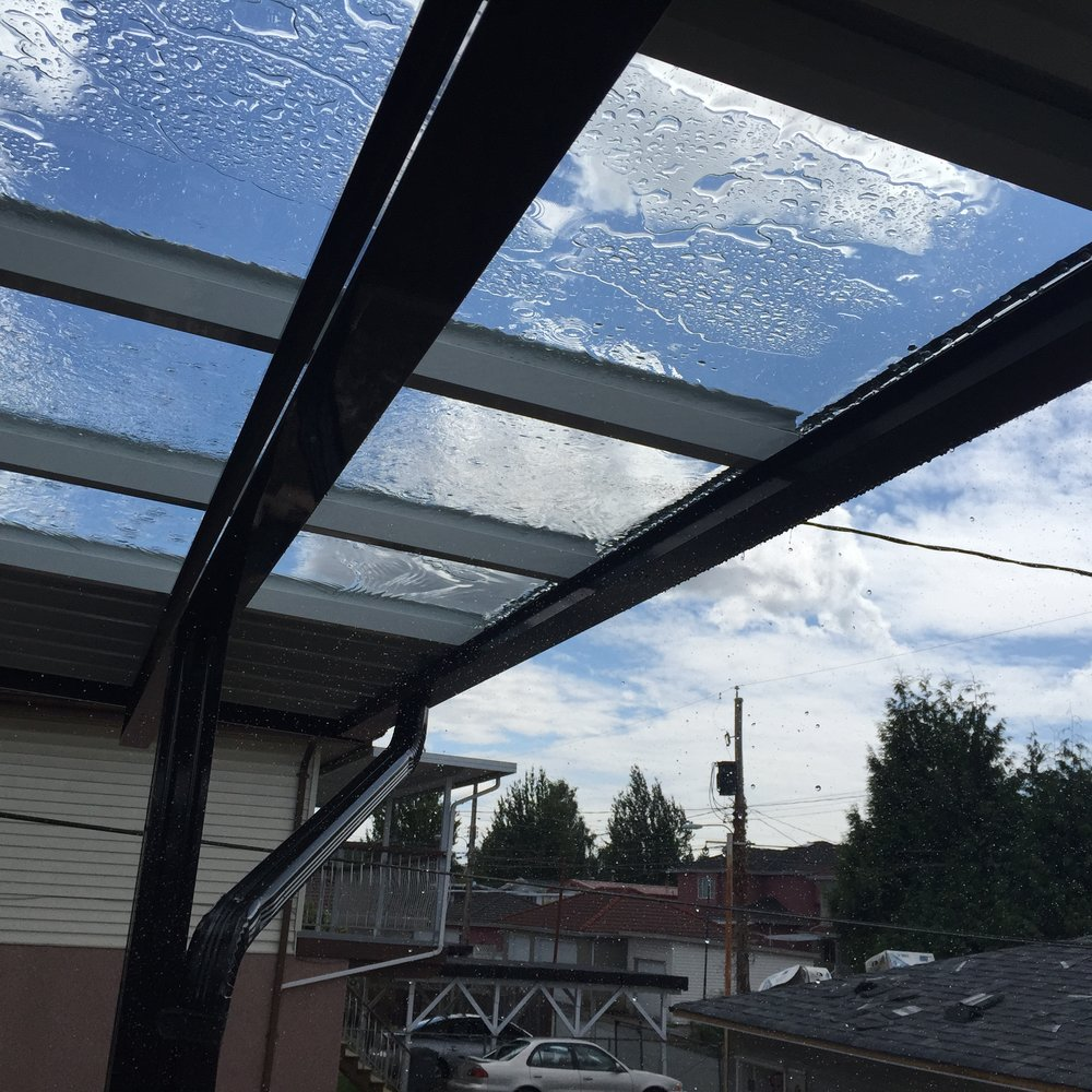 Glass and aluminum Patio Cover. Killarney, Vancouver BC