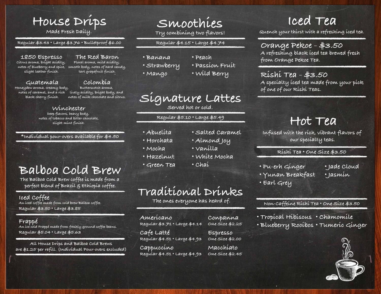 Coffee Menu | Menu The Daily Brew Coffee Bar