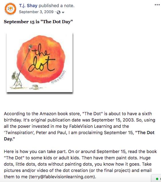 First Dot Day Facebook Post Part 1