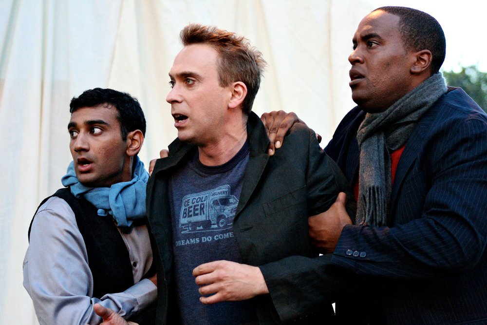 Nikhil Pai, David Melville & Ryan Vincent Anderson in Hamlet, 2012. Photo: Ivy Augusta.