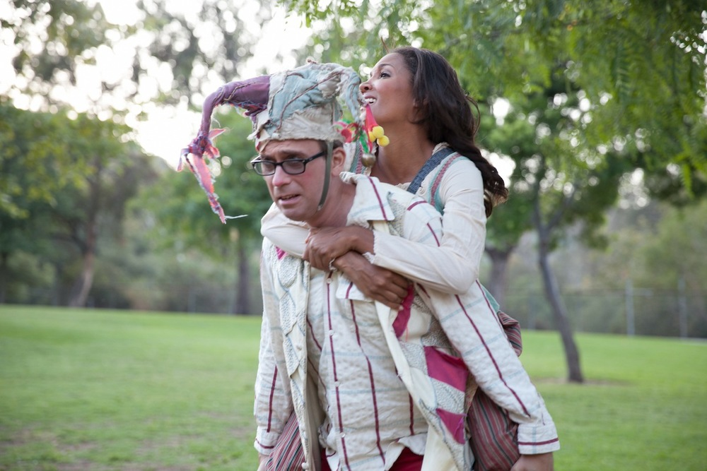 David Melville & Aisha Kabia journey to Arden in As You Like It (2013). Photo: Grettel Cortes.