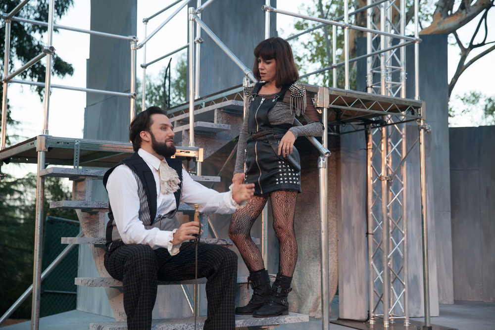 Faqir hassan as Montague with Mary Goodchild, romeo & juliet, griffith park free shakespeare festival 2015. Photo by grettel cortes
