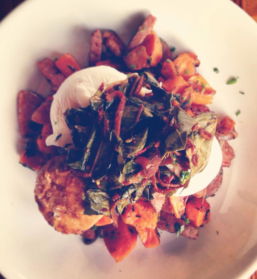 Source Lunch Special: Pork Croquettes, poached farm eggs, andouille sweet potato hash $12