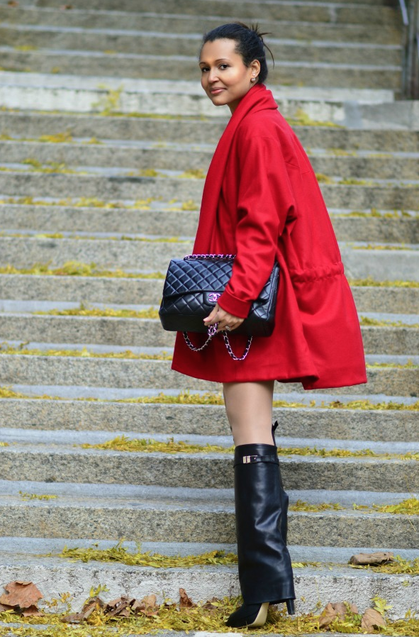 red jacket + black boots - Currently Wearing via This Photographer's Life