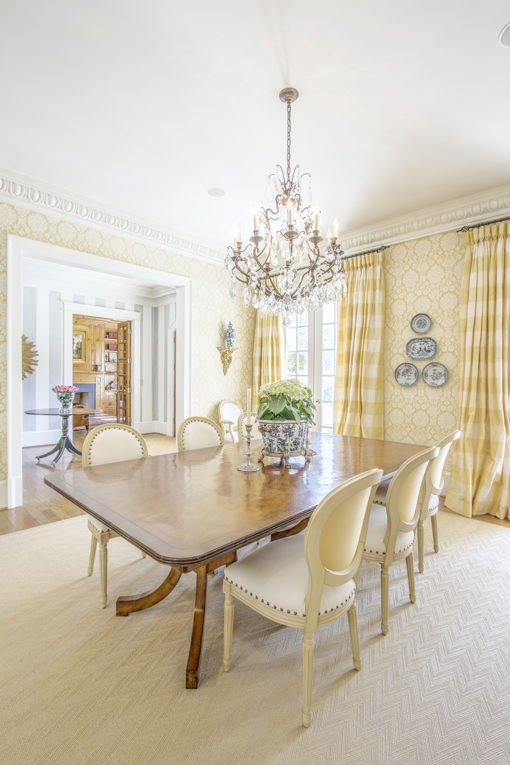 Formal Dining room with curtains