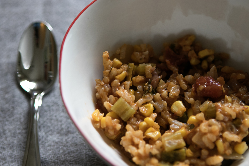 Sausage Jambalaya with Corn and Peppers