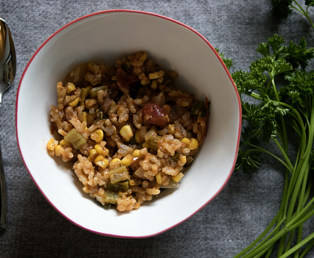 Sausage Jambalaya with Corn & Peppers