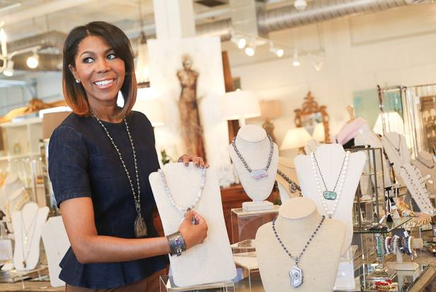 Keisha showing off her collection at Huff Harrington Home - Image by CatMax Photography for Style Blueprint