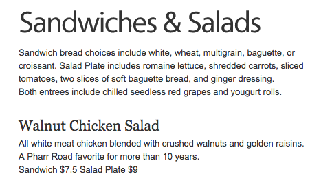 Cafe at Pharr Walnut Chicken Salad Plate