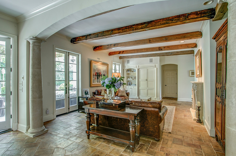 living room with beams