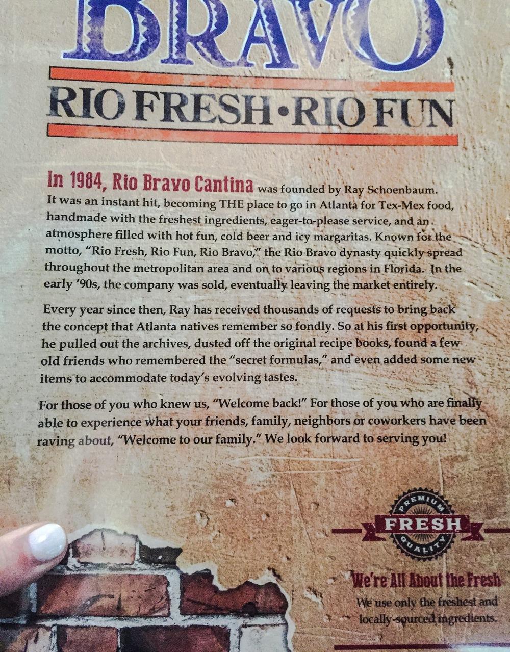 Rio Bravo Menu