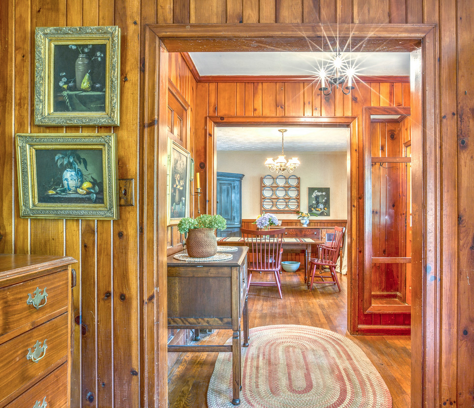 wood paneled entry way