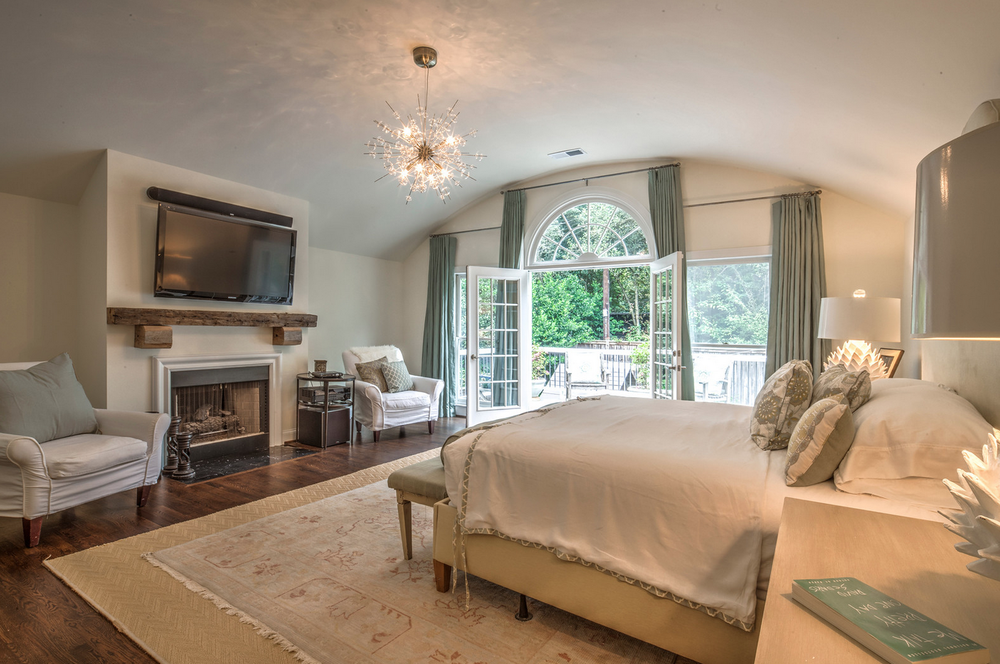 master bedroom with curved ceiling