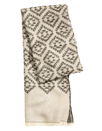 I love  this scarf .  It is very wide like a blanket scarf, so it has great drape to it.  I also love the pattern.