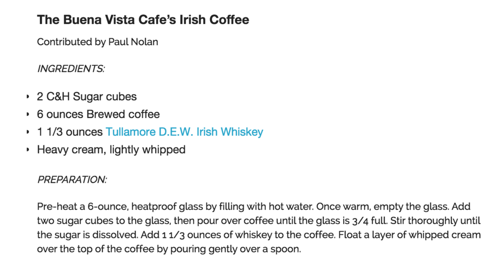 Buena Vista Irish Coffee Recipe