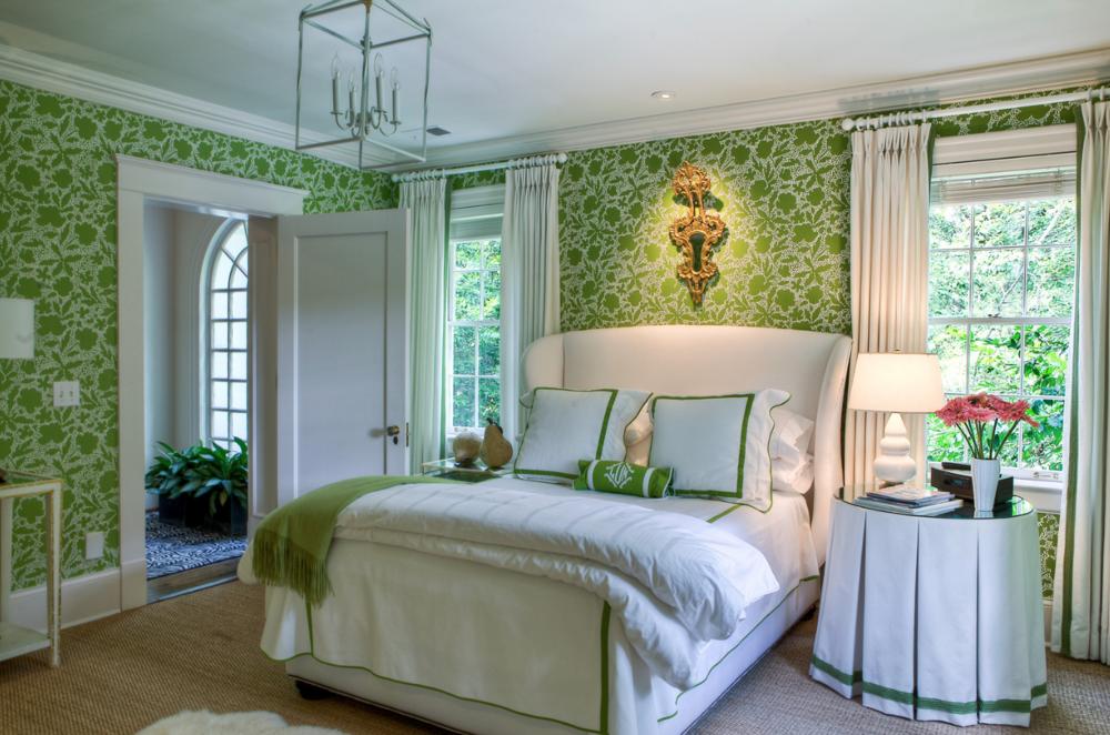 Green bedroom with wallpaper