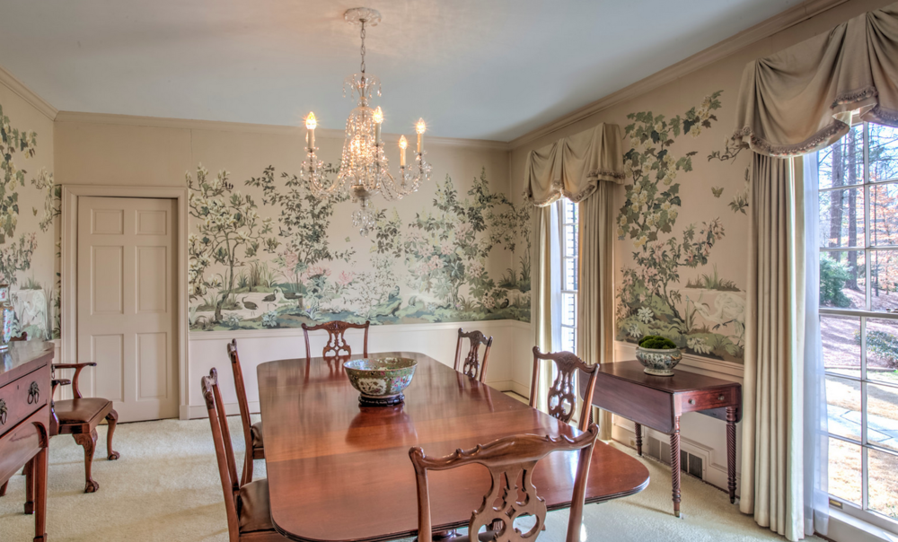 original dining room with wallpaper