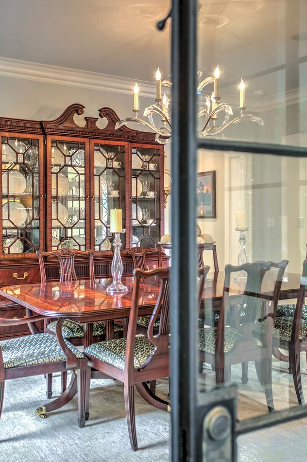 Leaded door into dining room
