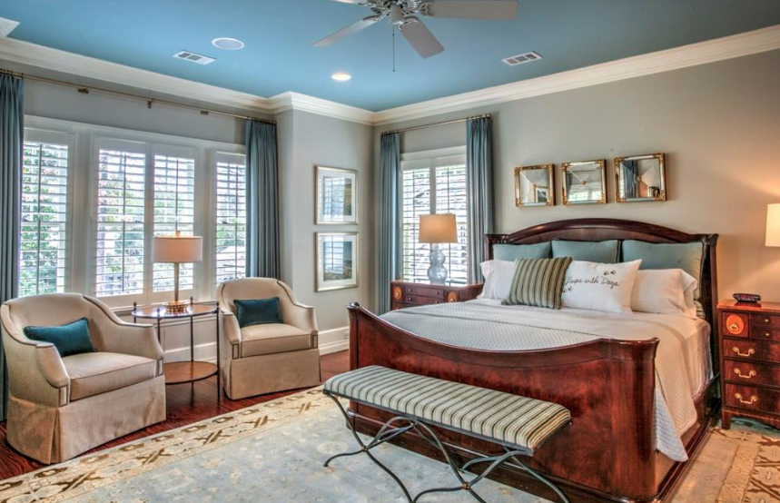 Master bedroom with Blue Ceiling