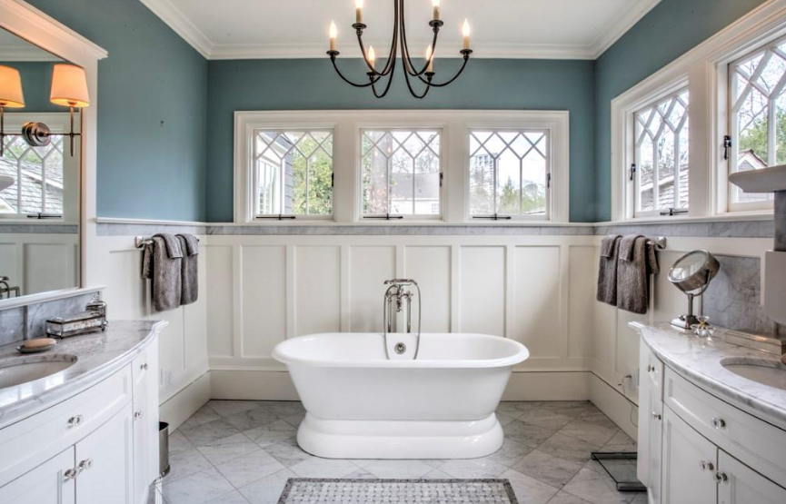 Blue Master bathroom with custom windows