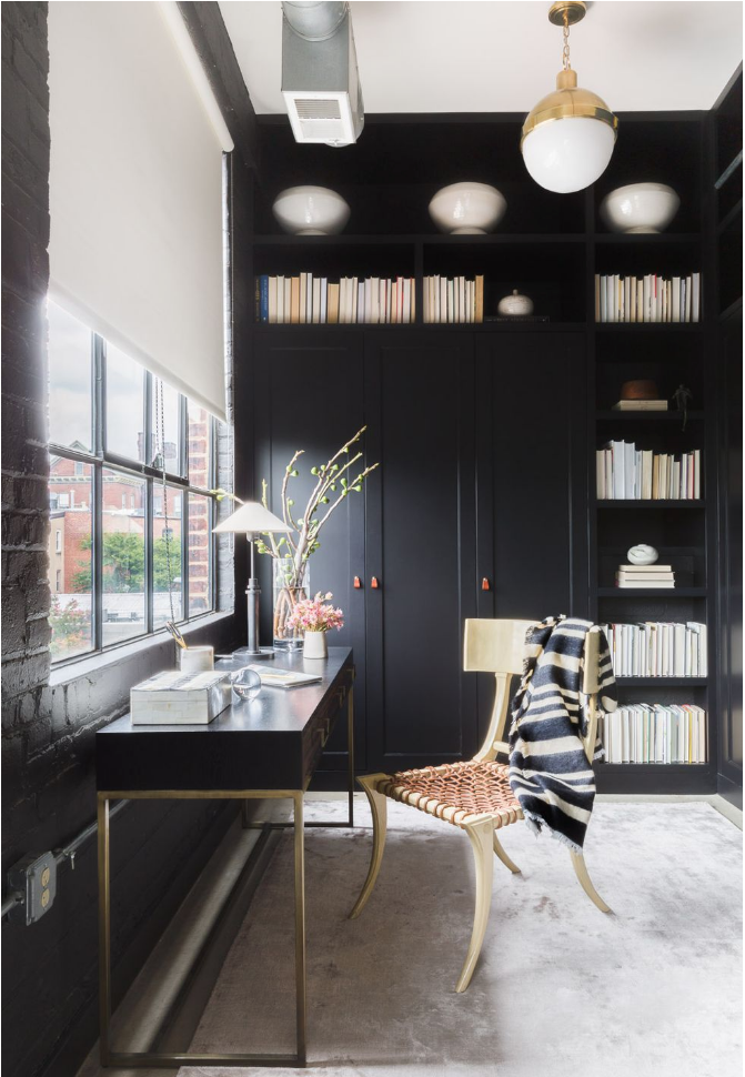 c/o  Elle Decor  - Photo by  Alyssa Rosenheck  - Desk by  Lawson Femming  - Chair by T. H. Robsjohn-Gibbings
