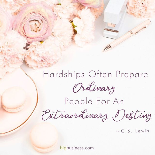 """Hardships often prepare ordinary people for an extraordinary destiny."" ~C.S. Lewis⠀ ⠀ Hardships are what propelled me into entrepreneurship, they were the necessary ingredient that has shaped and shifted my business, products, and services over all these years.⠀ ⠀ What is your take on hardship and struggle?⠀ ⠀ ⠀ ⠀ ⠀ #cslewis #quote #destiny #silverlining #blgbusiness #getshitdone #figureshitout #womeninbiz #womensupportingwomen #quotestoinspire #shemeansbusiness"