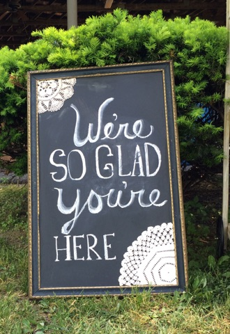 I created the signage sticking with the doily theme.
