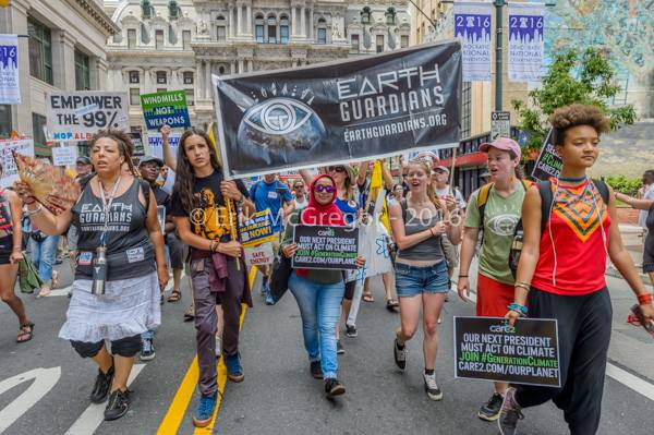 Some Earth Guardians at the March for a Clean Energy Revolution before the Democratic National Committee in Philadelphia this past summer.