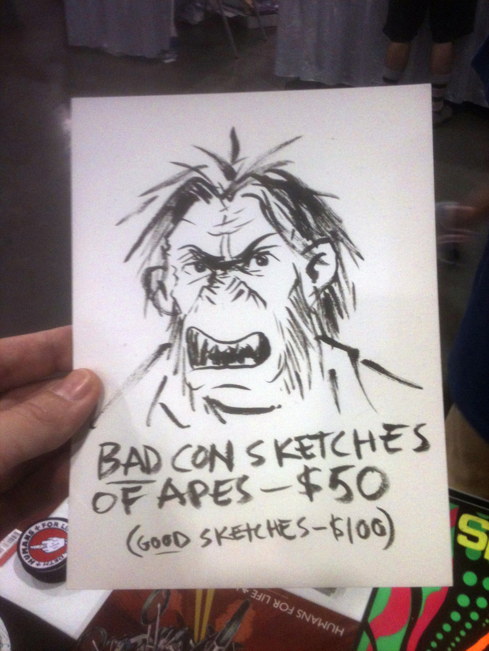 "Tom offered ""Bad-Con Sketches"" hahahaha"