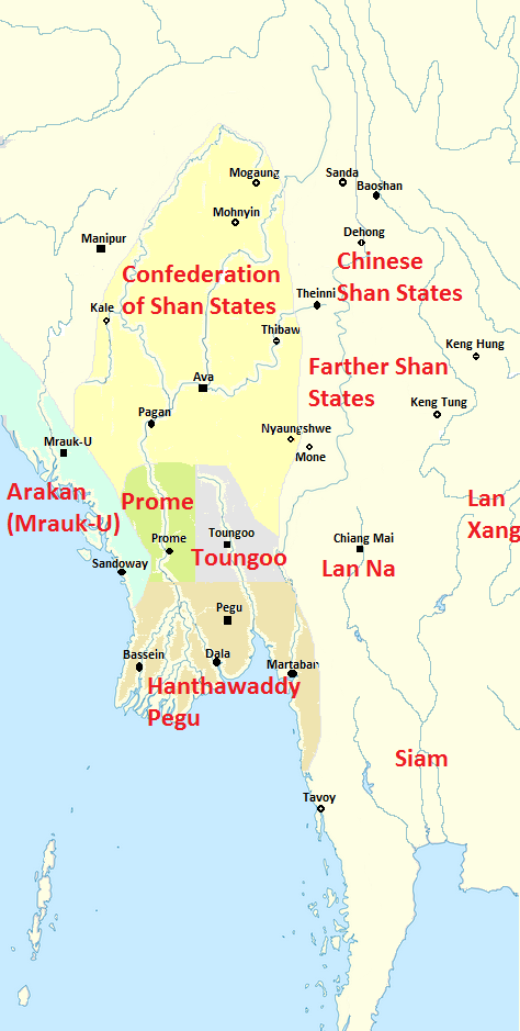 Myanmar circa 1530 (Image courtesy of Wikipedia)