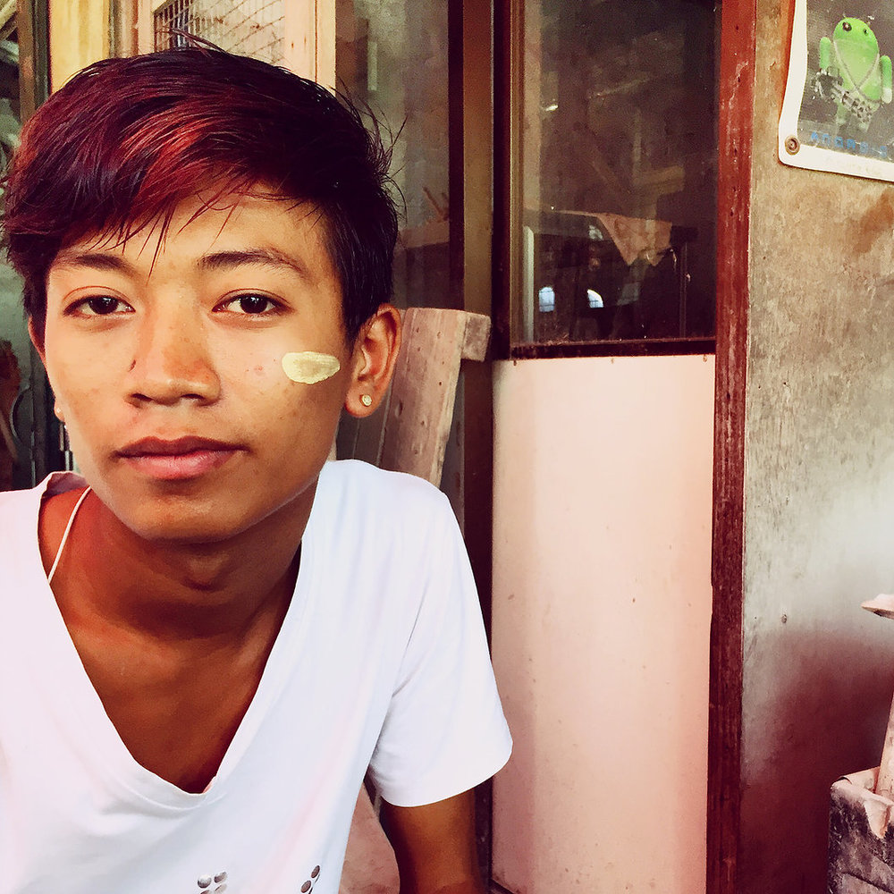 With Burmese youth, Ko Aung is as smooth as they come. His use of Thanaka for self expression doubles as a way to treat pimples both day and night.