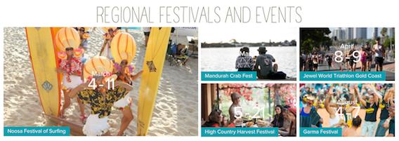 Image from Australia.com's regional destinations webpage