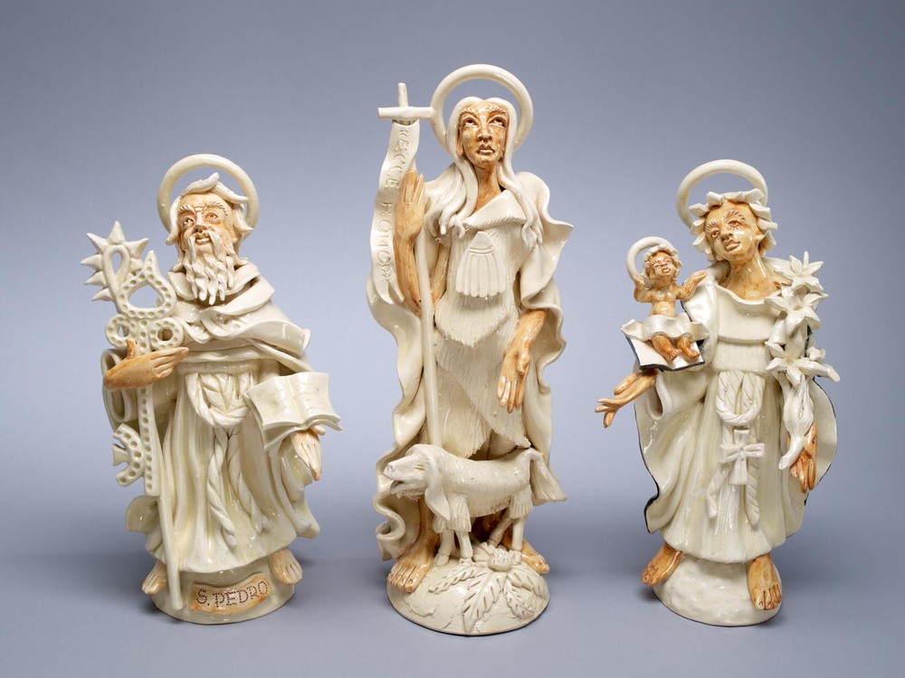 Portuguese ceramic figures of San Pedro, Sao Joao Batista and Santo Antonio holding baby Jesus. Photographed for Dr. Anthony Shelton's book Heaven & Hell 2014. Figures by Jose Augusto Ferreira dos Santos MOA CAT: 2956/5, 2956/3, 2956/2 c.2010. Portugal: Aveiro, Aveiro