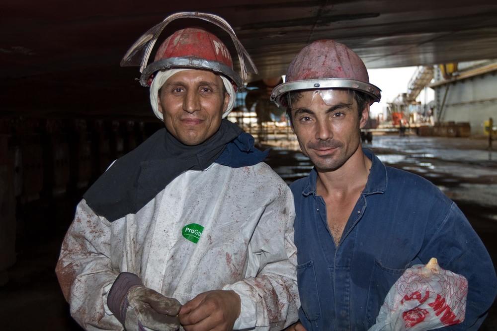 Dry dock workers: Nassau, Bahamas
