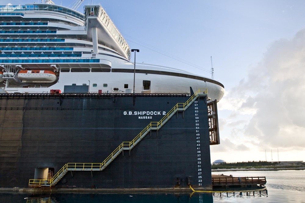 The Emerald Princess in dry dock: Nassau, Bahamas
