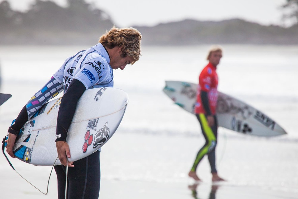 Eric Geiselman prepares to take on Tanner Gudauskas in the quarter finals: Chesterman Beach, Tofino
