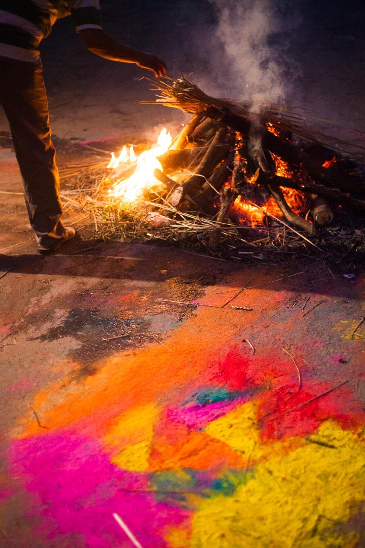 Rangoli and a Holika Bonfire: Jaipur