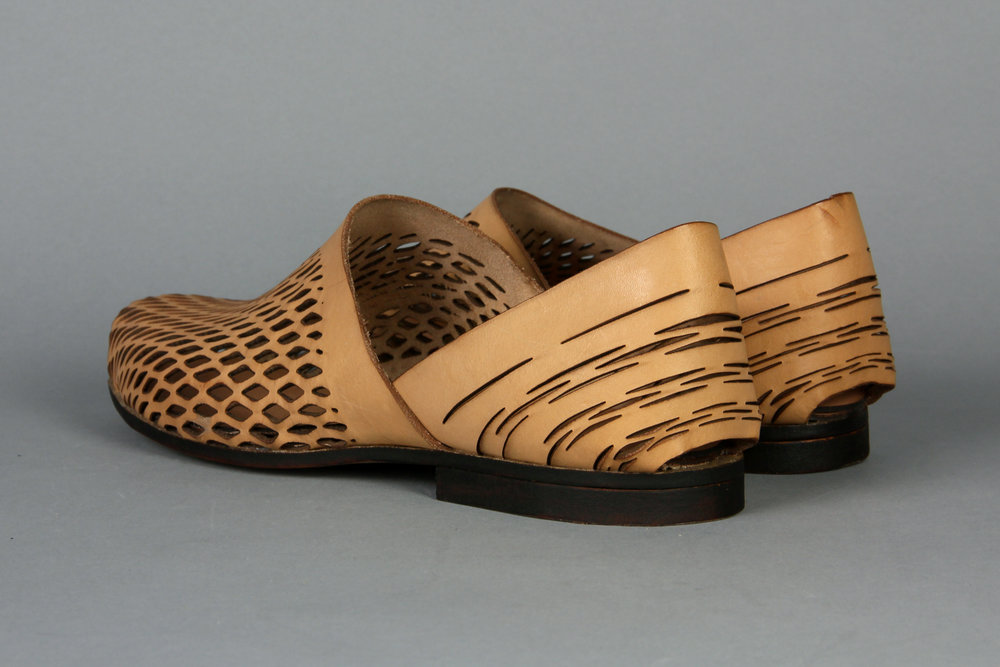 No-sew, laser cut leather shoes