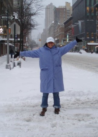 Standing in the middle of New York City during the Blizzard of 2011! Who is happier than me?