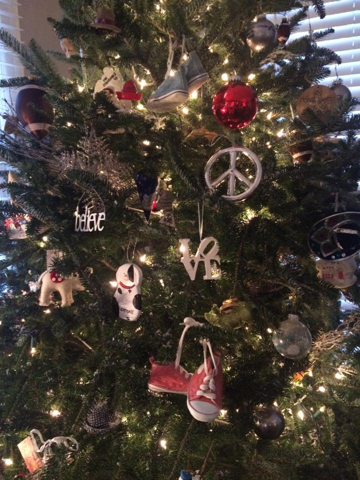 Look closely you will find two of my favorite ornaments: Jake and Madi's first pair of sneakers!