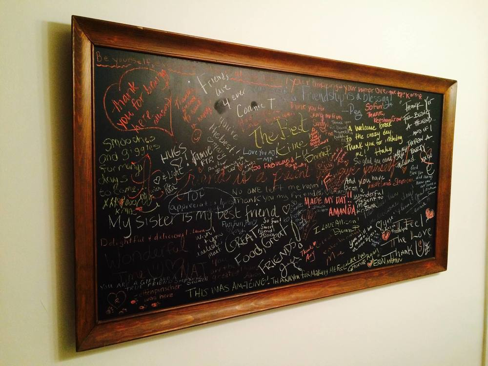 This chalkboard is signed by all the friends who attended my Friendship Brunch In Tuscaloosa, Alabama. Roll Tide Friends!
